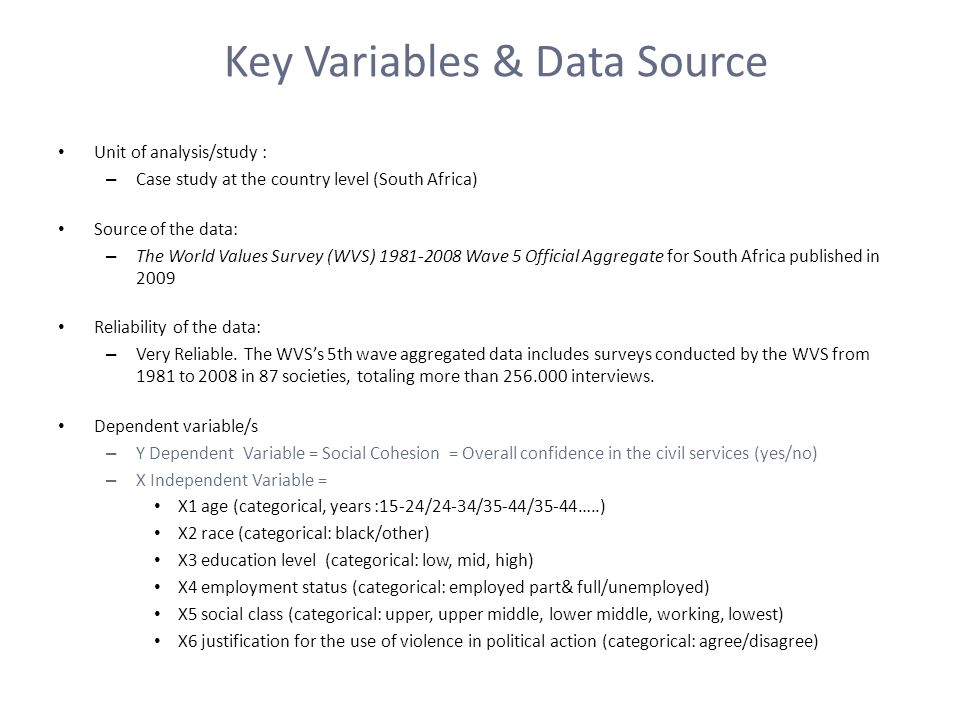 Key Variables & Data Source Unit of analysis/study : – Case study at the country level (South Africa) Source of the data: – The World Values Survey (WVS) Wave 5 Official Aggregate for South Africa published in 2009 Reliability of the data: – Very Reliable.