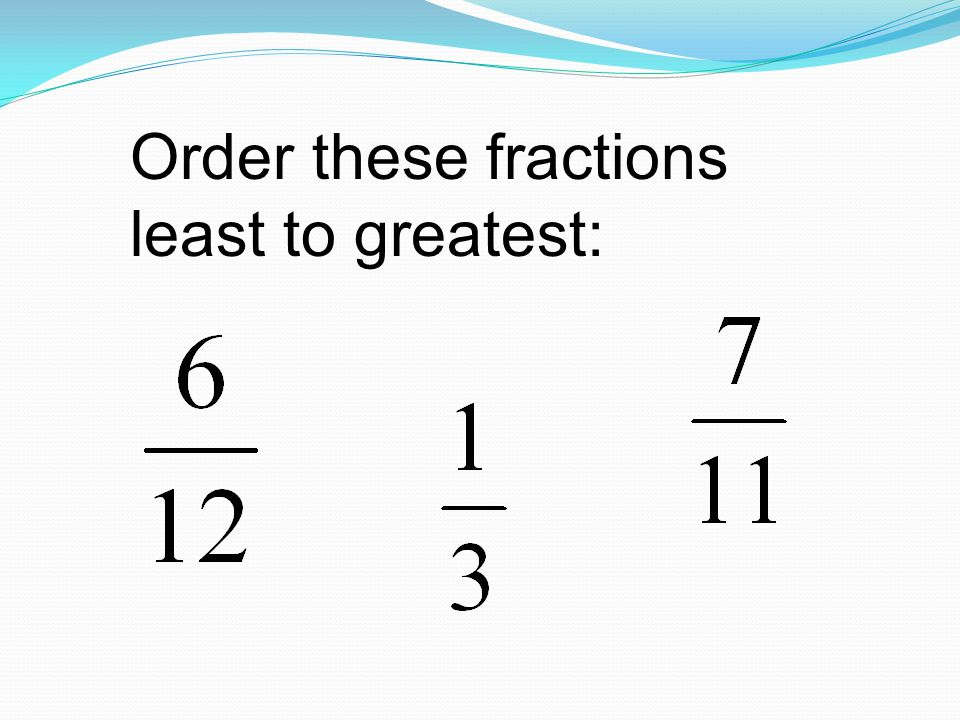 Order these fractions least to greatest: