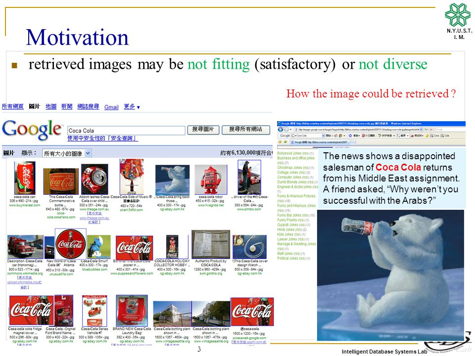 Intelligent Database Systems Lab N.Y.U.S.T. I. M. 3 Motivation retrieved images may be not fitting (satisfactory) or not diverse The news shows a disa