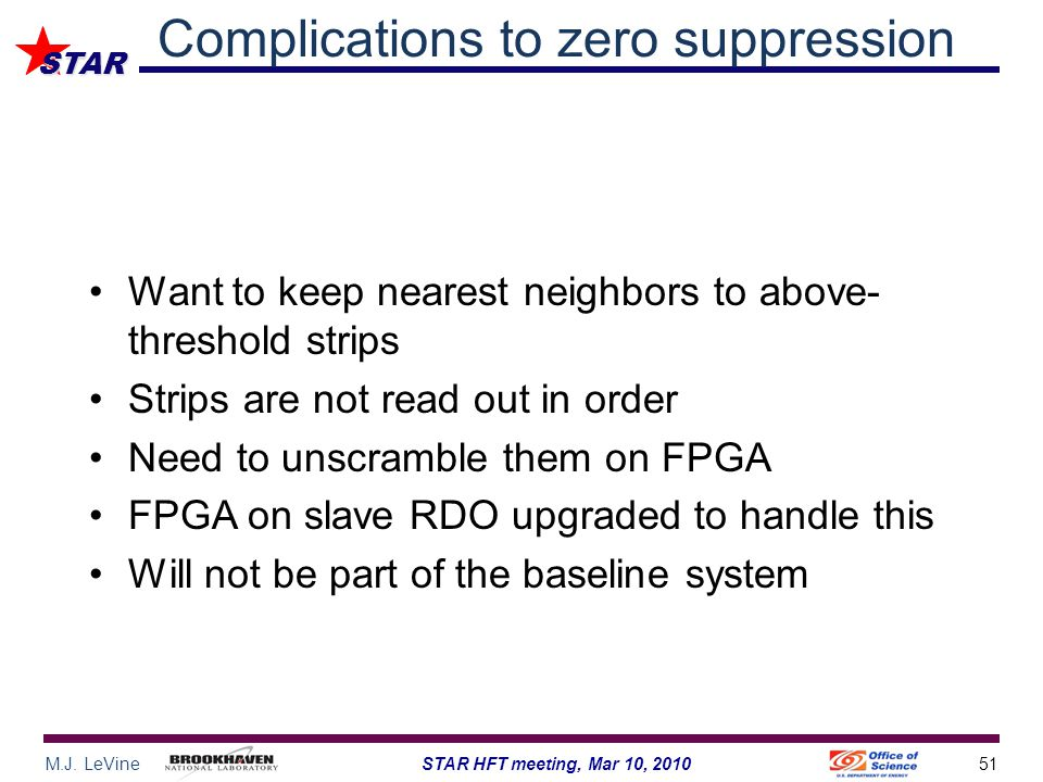 M.J. LeVine51STAR HFT meeting, Mar 10, 2010 STAR Complications to zero suppression Want to keep nearest neighbors to above- threshold strips Strips ar