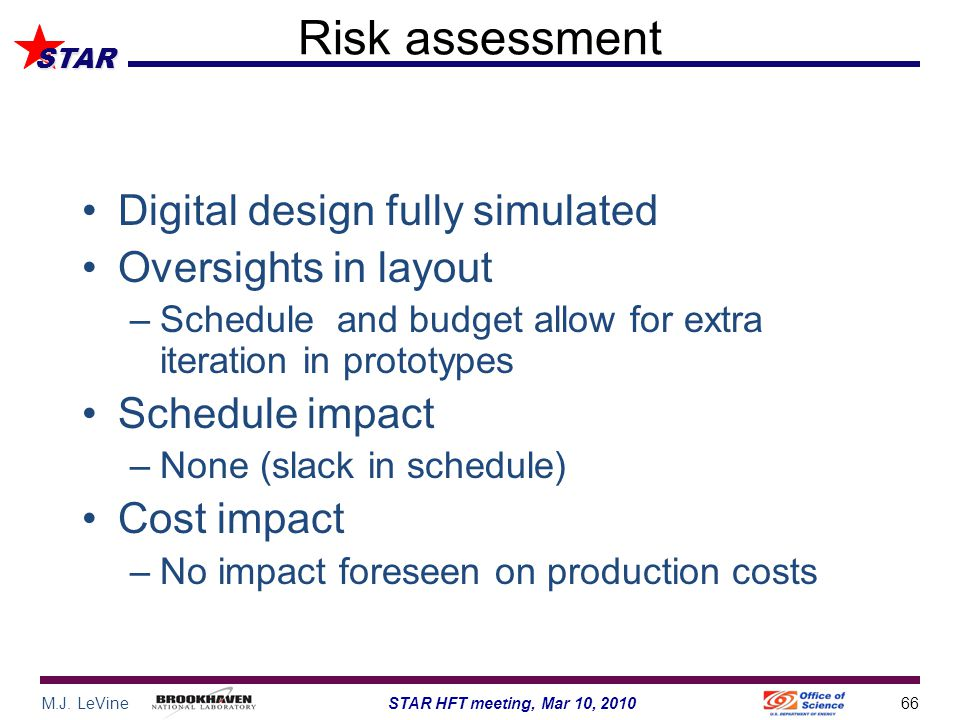 M.J. LeVine66STAR HFT meeting, Mar 10, 2010 STAR Risk assessment Digital design fully simulated Oversights in layout –Schedule and budget allow for ex