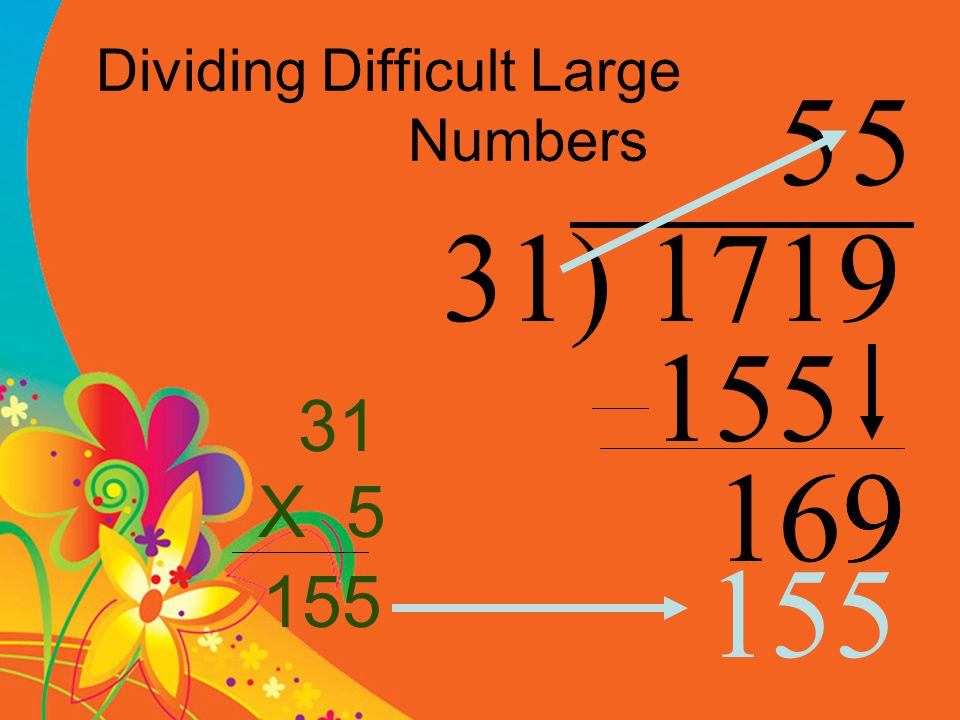Dividing Difficult Large Numbers 31) 1719 5 155 1699 31 X 5 5 155 155