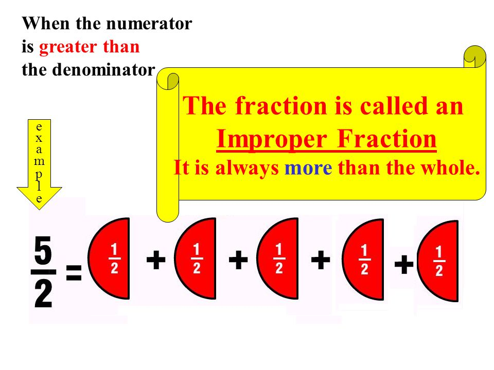 When the numerator is less than the denominator examplesexamples The fraction is called an Proper Fraction It is always less than the whole.
