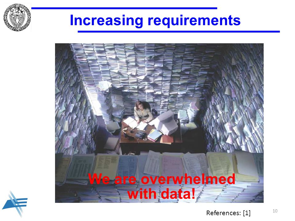 Increasing requirements References: [1] We are overwhelmed with data! 10