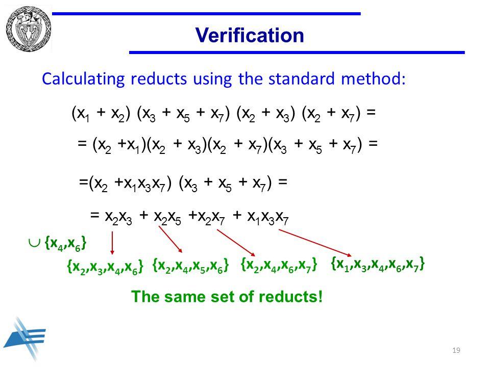 Verification (x 1 + x 2 ) (x 3 + x 5 + x 7 ) (x 2 + x 3 ) (x 2 + x 7 ) = = (x 2 +x 1 )(x 2 + x 3 )(x 2 + x 7 )(x 3 + x 5 + x 7 ) = =(x 2 +x 1 x 3 x 7 ) (x 3 + x 5 + x 7 ) = = x 2 x 3 + x 2 x 5 +x 2 x 7 + x 1 x 3 x 7 {x 2,x 3,x 4,x 6 } {x 2,x 4,x 5,x 6 } {x 2,x 4,x 6,x 7 }  {x 4,x 6 } {x 1,x 3,x 4,x 6,x 7 } The same set of reducts.