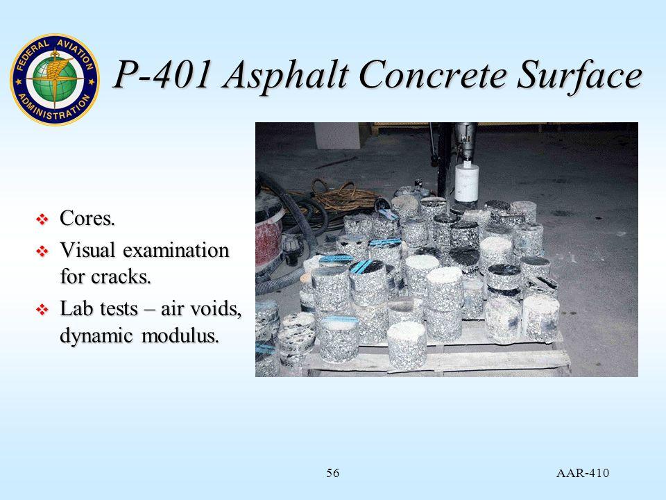 AAR-410 56 P-401 Asphalt Concrete Surface  Cores.
