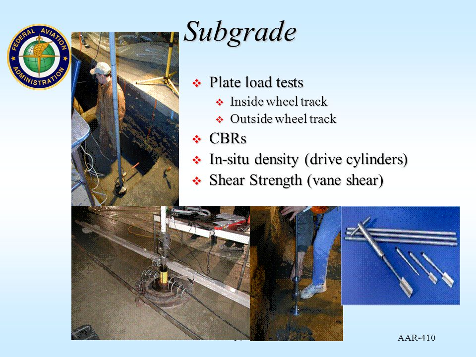 AAR Subgrade  Plate load tests  Inside wheel track  Outside wheel track  CBRs  In-situ density (drive cylinders)  Shear Strength (vane shear)