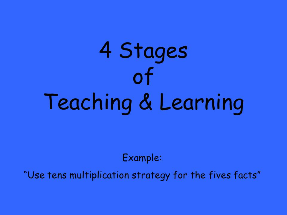 4 Stages of Teaching & Learning Example: Use tens multiplication strategy for the fives facts