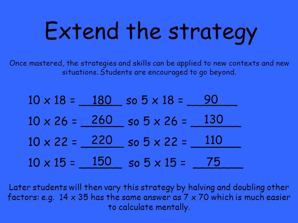 Extend the strategy Once mastered, the strategies and skills can be applied to new contexts and new situations.