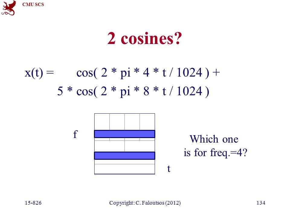 CMU SCS 15-826Copyright: C. Faloutsos (2012)134 2 cosines.