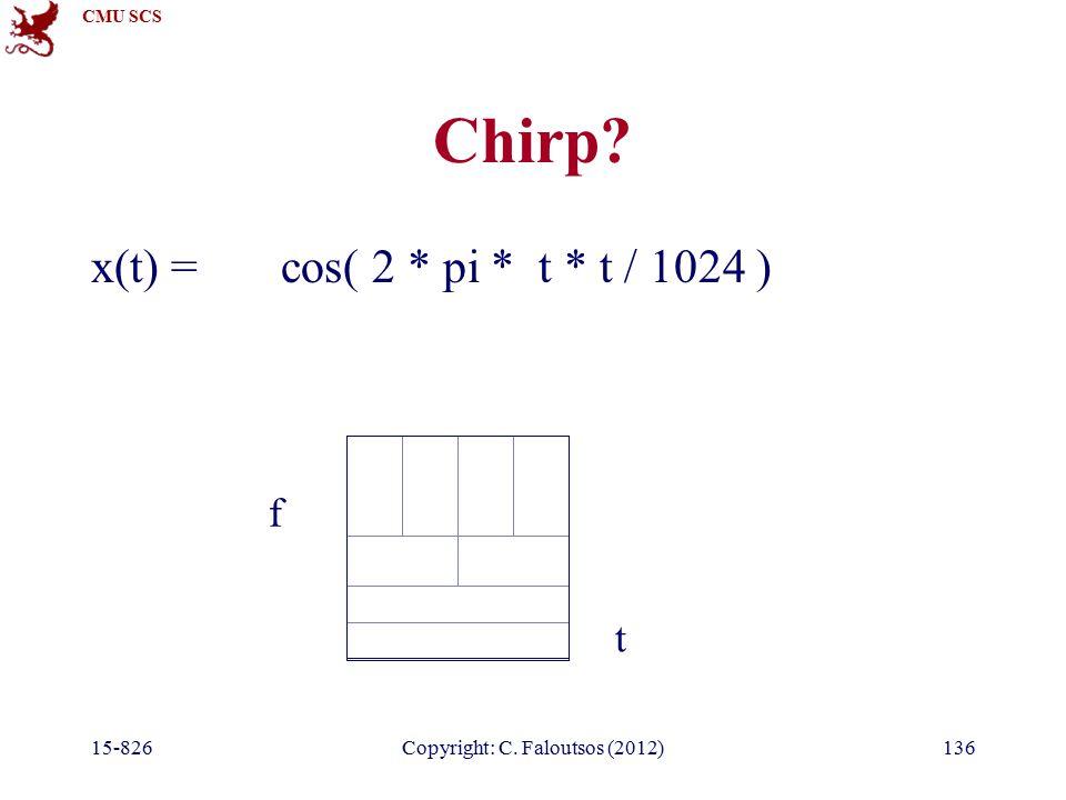 CMU SCS 15-826Copyright: C. Faloutsos (2012)136 Chirp x(t) = cos( 2 * pi * t * t / 1024 ) t f
