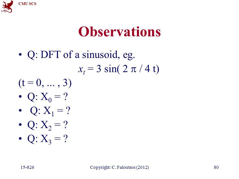 CMU SCS 15-826Copyright: C. Faloutsos (2012)80 Observations Q: DFT of a sinusoid, eg.