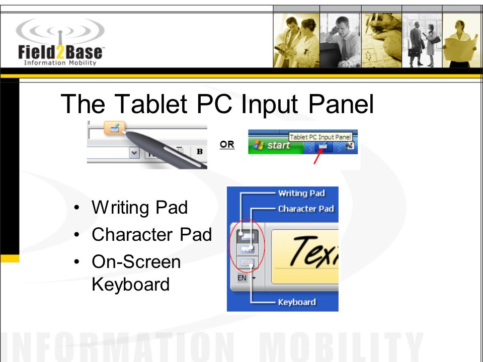 The Tablet PC Input Panel Writing Pad Character Pad On-Screen Keyboard