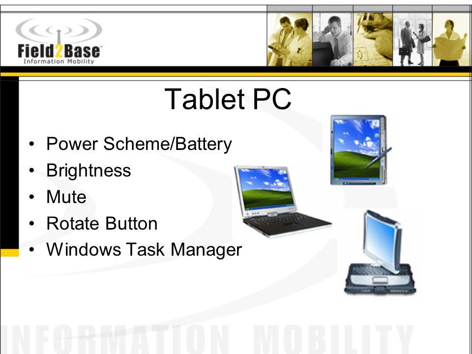 Tablet PC Power Scheme/Battery Brightness Mute Rotate Button Windows Task Manager