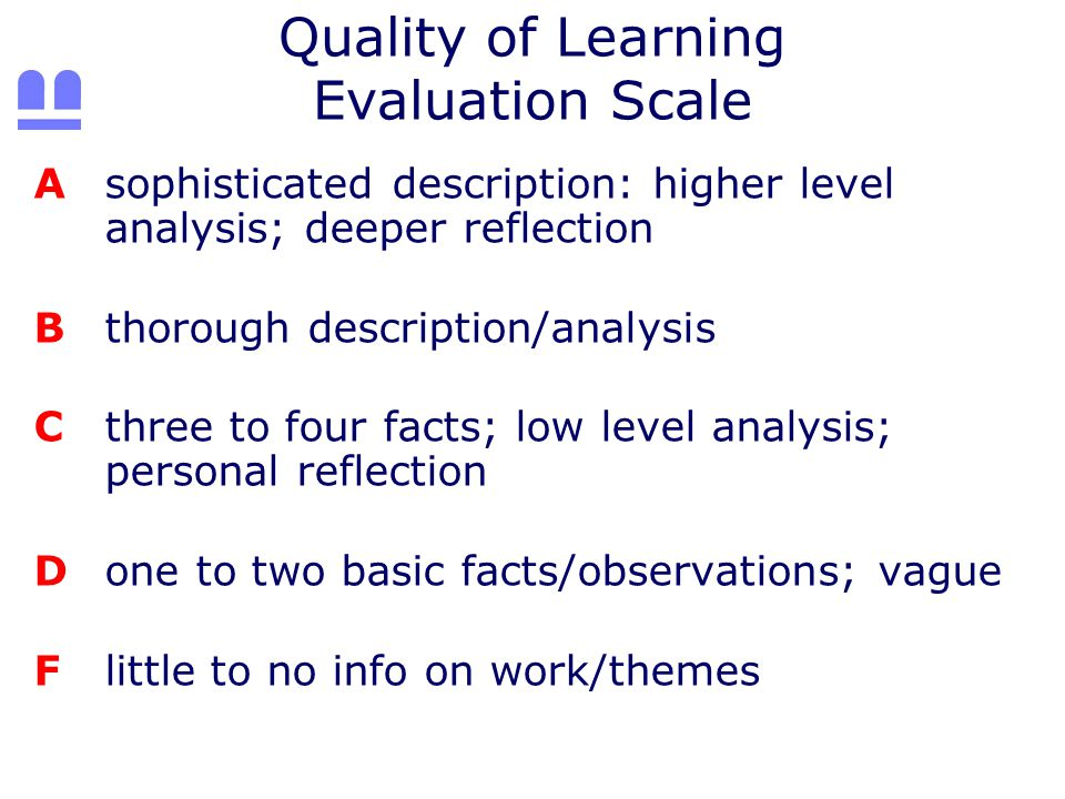 Quality of Learning Evaluation Scale Asophisticated description: higher level analysis; deeper reflection Bthorough description/analysis Cthree to four facts; low level analysis; personal reflection Done to two basic facts/observations; vague Flittle to no info on work/themes