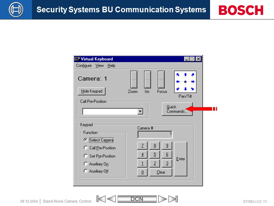 Security Systems BU Communication SystemsDCN ST/SEU-CO 11 Stand Alone Camera Control 09.12.2004