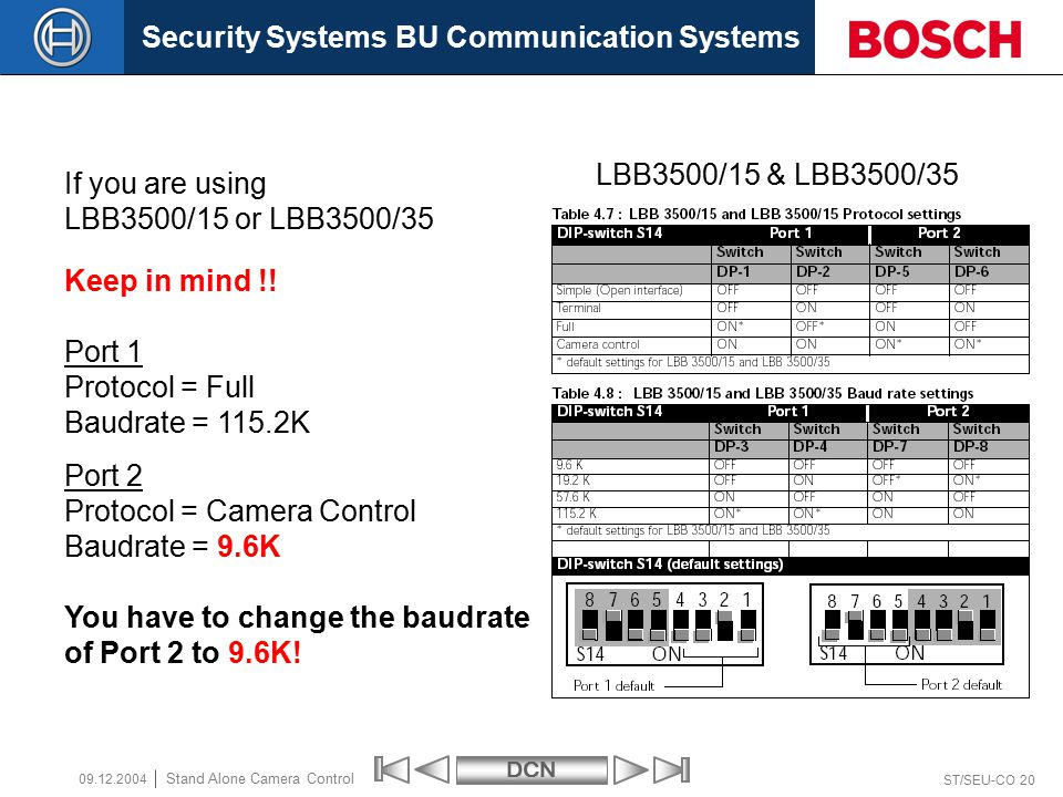 Security Systems BU Communication SystemsDCN ST/SEU-CO 20 Stand Alone Camera Control 09.12.2004 LBB3500/15 & LBB3500/35 Port 1 Protocol = Full Baudrate = 115.2K Port 2 Protocol = Camera Control Baudrate = 9.6K Keep in mind !.