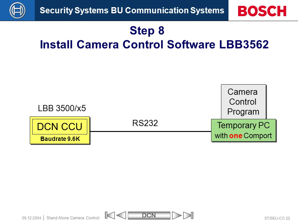 Security Systems BU Communication SystemsDCN ST/SEU-CO 22 Stand Alone Camera Control 09.12.2004 DCN CCU Camera Control Program Camera Control Program Temporary PC with one Comport Temporary PC with one Comport LBB 3500/x5 RS232 Step 8 Install Camera Control Software LBB3562 Baudrate 9.6K