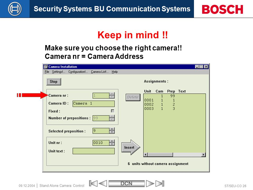 Security Systems BU Communication SystemsDCN ST/SEU-CO 26 Stand Alone Camera Control 09.12.2004 Make sure you choose the right camera!.