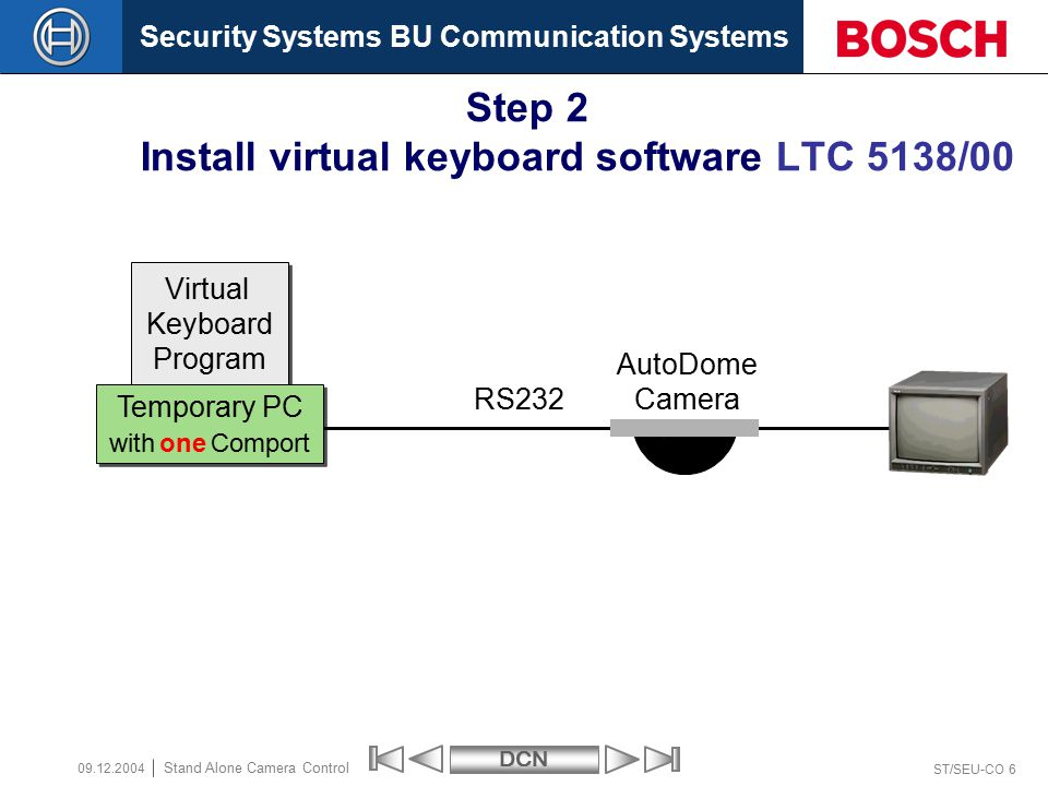 Security Systems BU Communication SystemsDCN ST/SEU-CO 47 Stand Alone Camera Control 09.12.2004 How to configure Stand Alone Camera Control End of section  Robert Bosch GmbH All rights are reserved.