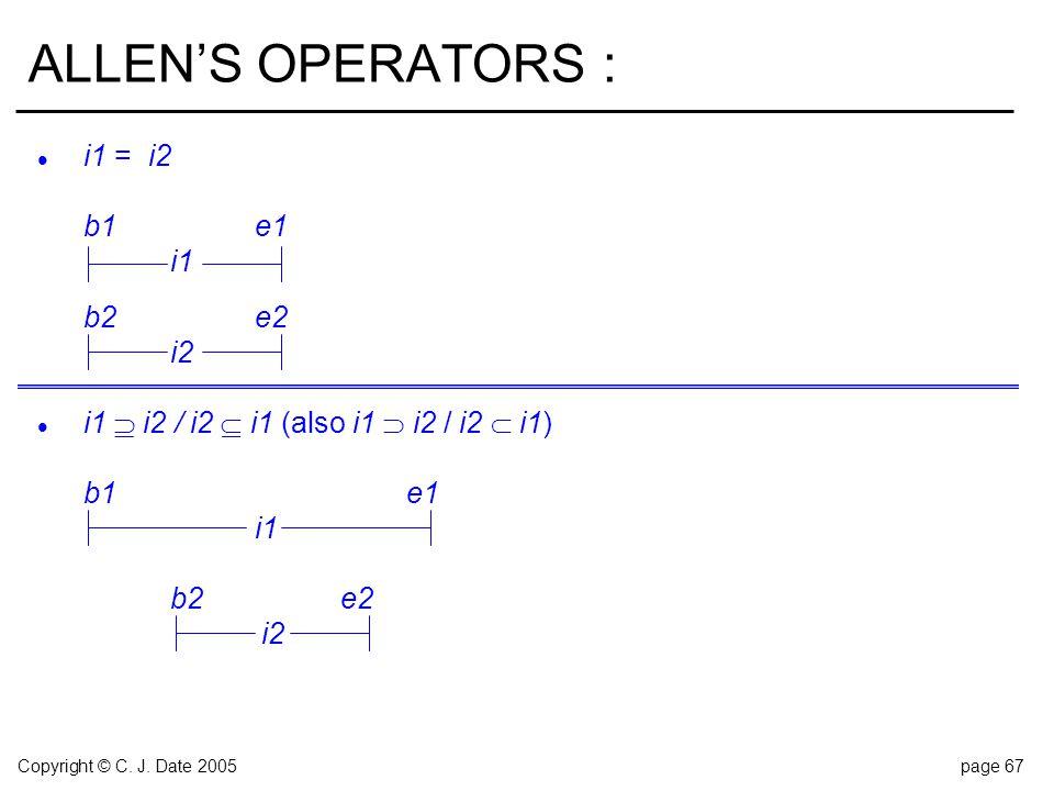 Copyright © C. J. Date 2005page 67 ALLEN'S OPERATORS : l i1 = i2 b1e1 i1 b2e2 i2 l i1  i2 / i2  i1 (also i1  i2 / i2  i1) b1e1 i1 b2e2 i2