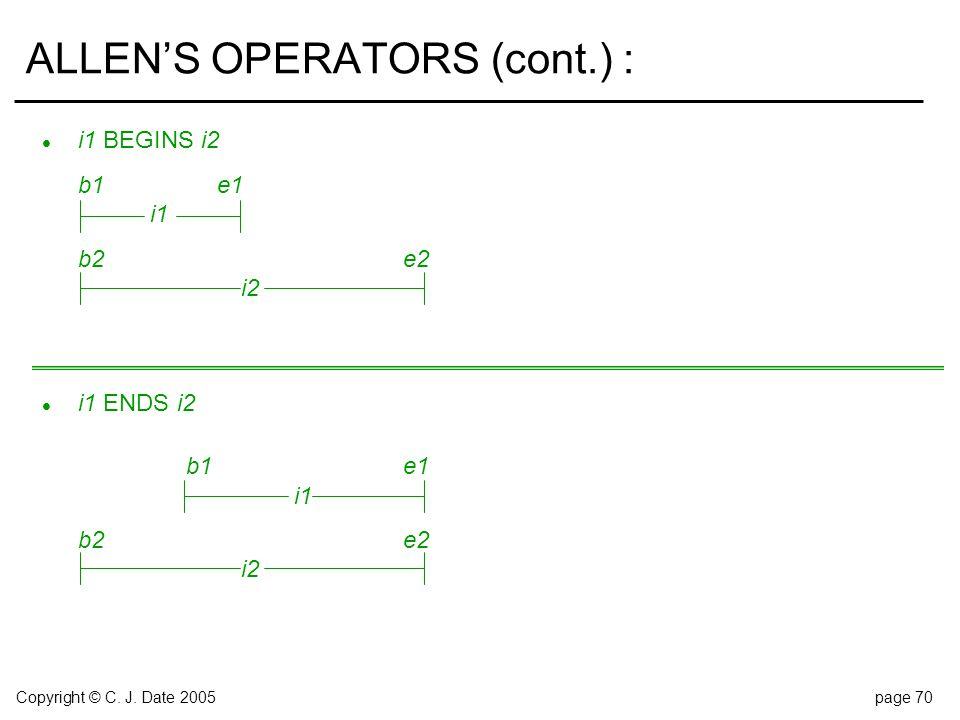 Copyright © C. J. Date 2005page 70 ALLEN'S OPERATORS (cont.) : l i1 BEGINS i2 b1e1 i1 b2e2 i2 l i1 ENDS i2 b1e1 i1 b2 e2 i2