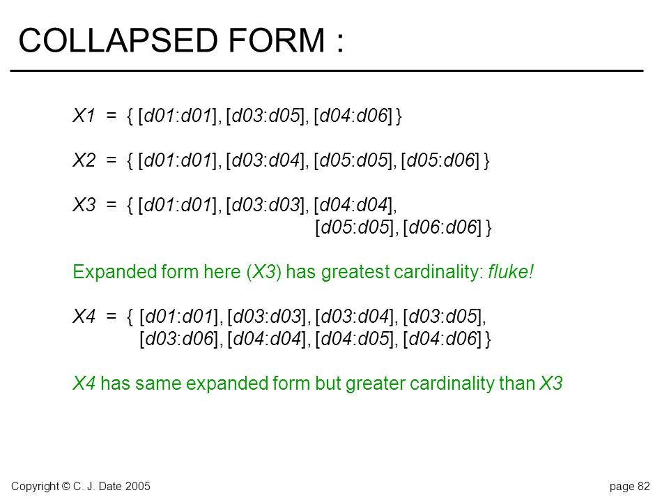 Copyright © C. J. Date 2005page 82 COLLAPSED FORM : X1 = { [d01:d01], [d03:d05], [d04:d06] } X2 = { [d01:d01], [d03:d04], [d05:d05], [d05:d06] } X3 =