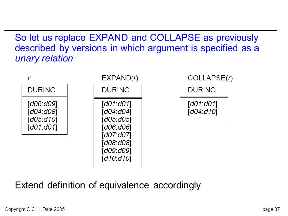 Copyright © C. J. Date 2005page 87 So let us replace EXPAND and COLLAPSE as previously described by versions in which argument is specified as a unary