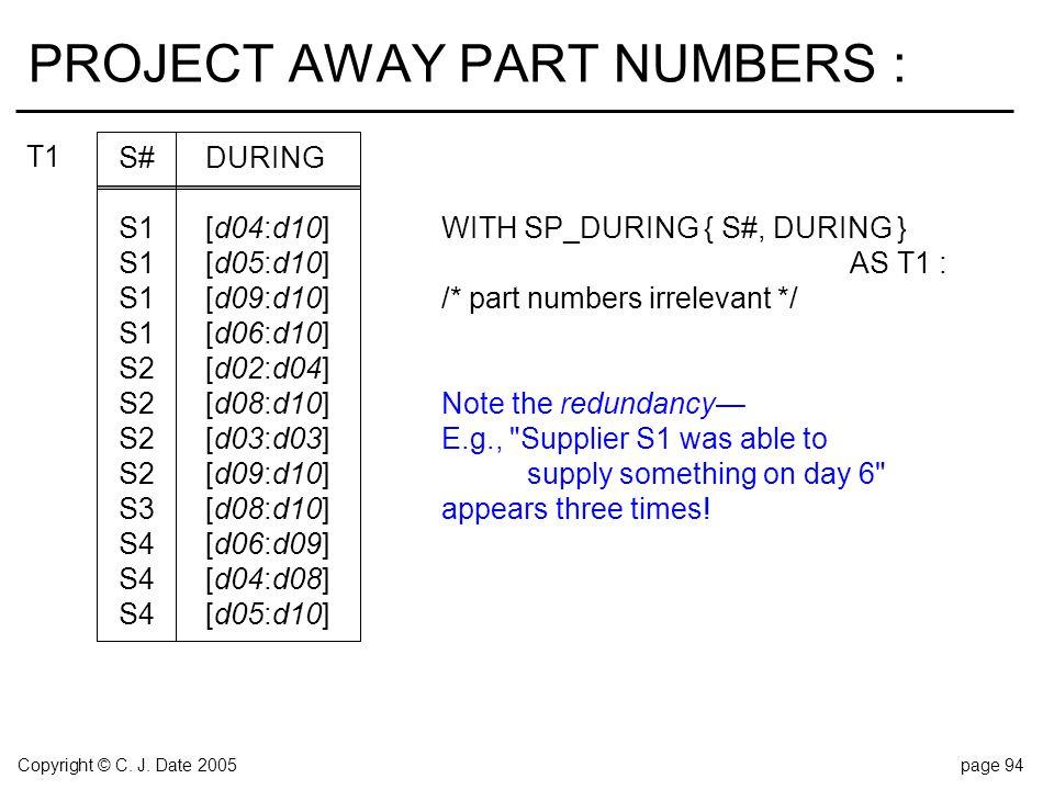 Copyright © C. J. Date 2005page 94 PROJECT AWAY PART NUMBERS : S#DURING S1[d04:d10]WITH SP_DURING { S#, DURING } S1[d05:d10]AS T1 : S1[d09:d10]/* part