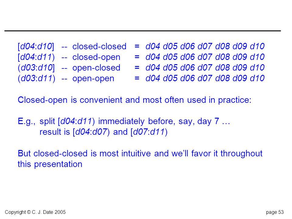 Copyright © C. J. Date 2005page 53 [d04:d10]--closed-closed=d04 d05 d06 d07 d08 d09 d10 [d04:d11)--closed-open=d04 d05 d06 d07 d08 d09 d10 (d03:d10]--