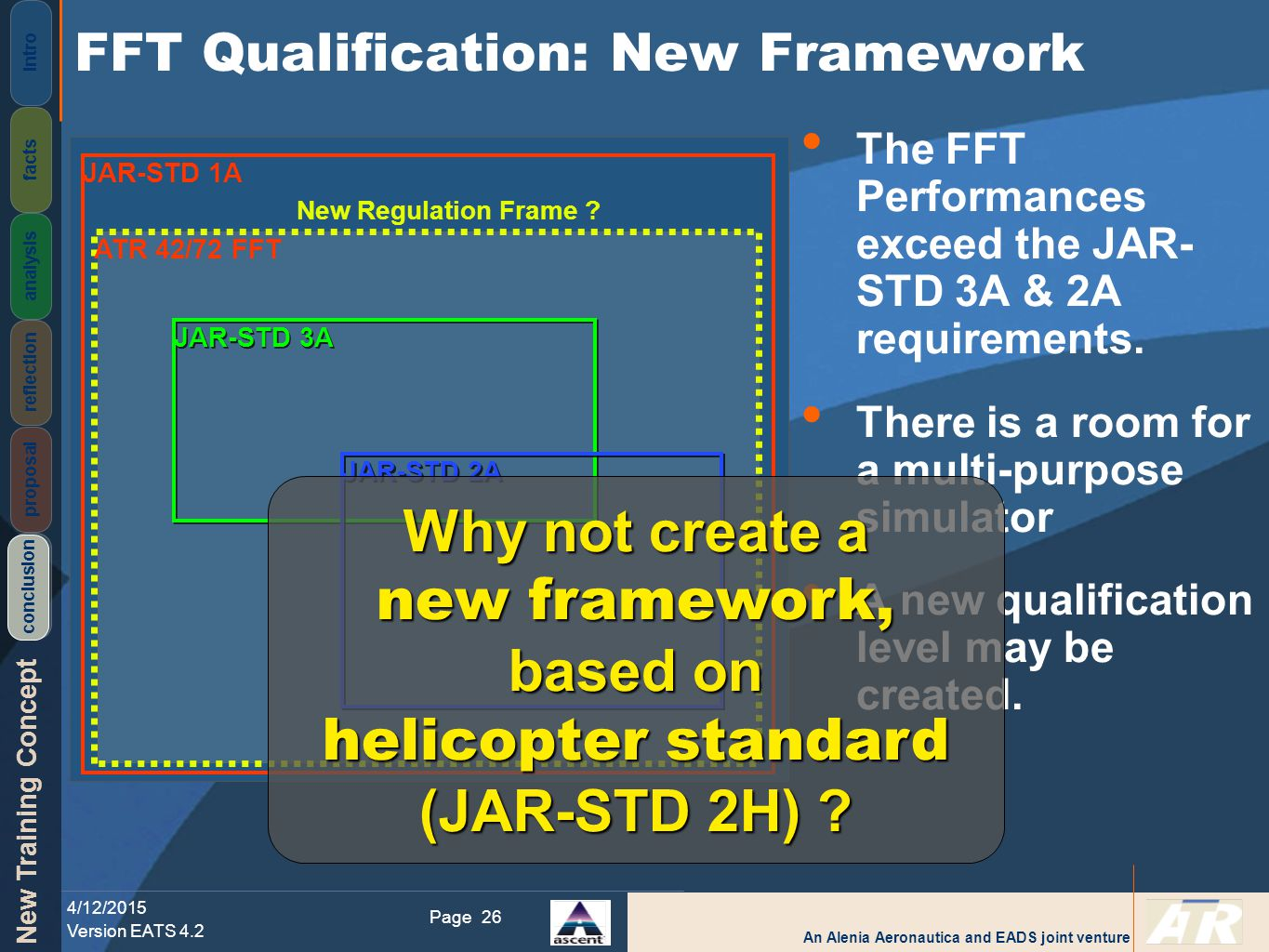 An Alenia Aeronautica and EADS joint venture New Training Concept 4/12/2015 Version EATS 4.2 Page Intro facts analysis reflection proposal conclusion 26 JAR-STD 1A ATR 42/72 FFT JAR-STD 3A JAR-STD 2A New Regulation Frame .