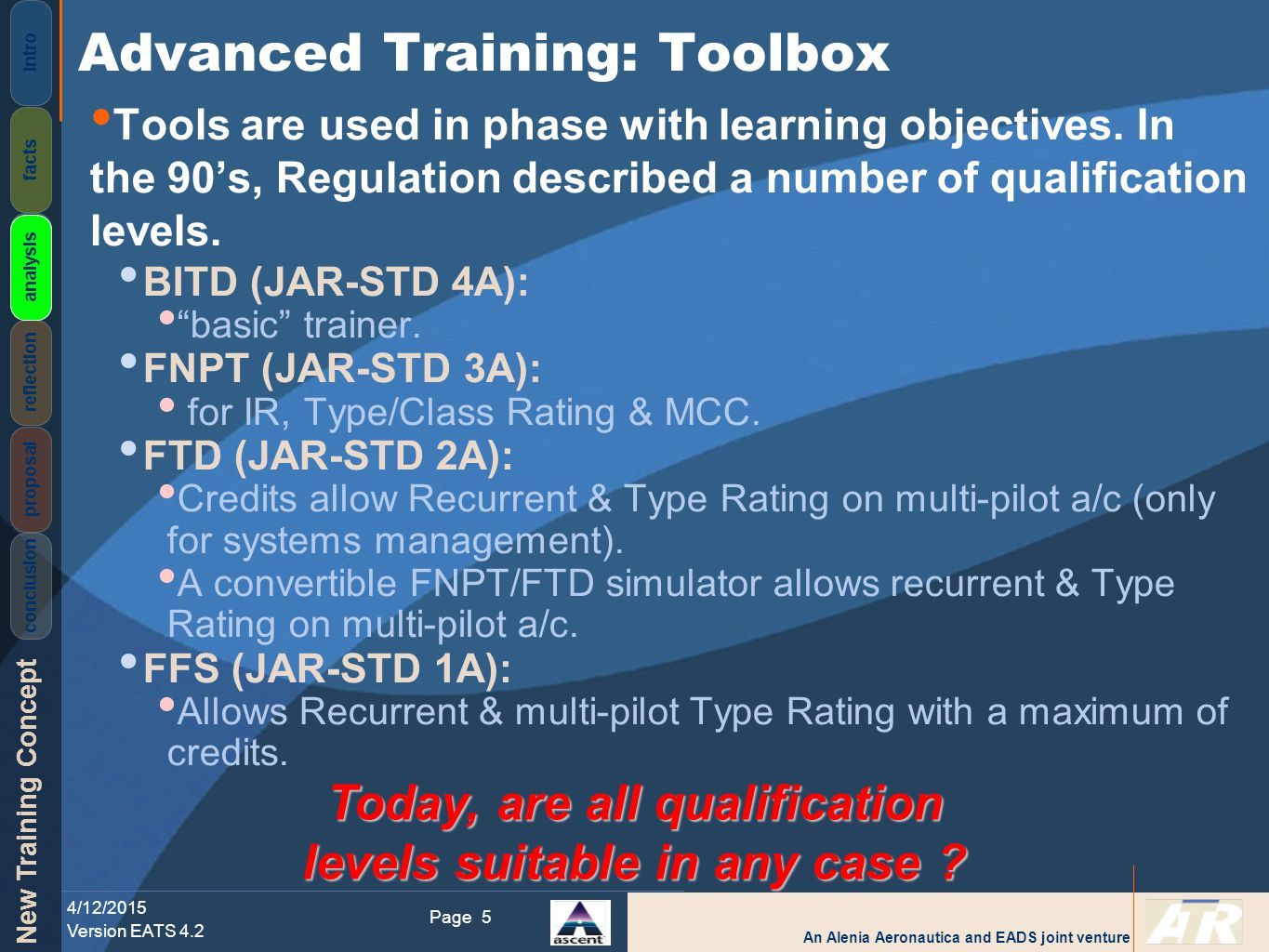 An Alenia Aeronautica and EADS joint venture New Training Concept 4/12/2015 Version EATS 4.2 Page Intro facts analysis reflection proposal conclusion 16 From evaluation and training to final test on FFS with motion ( Quasi- Transfer ), performances of the two groups have the same evolution.