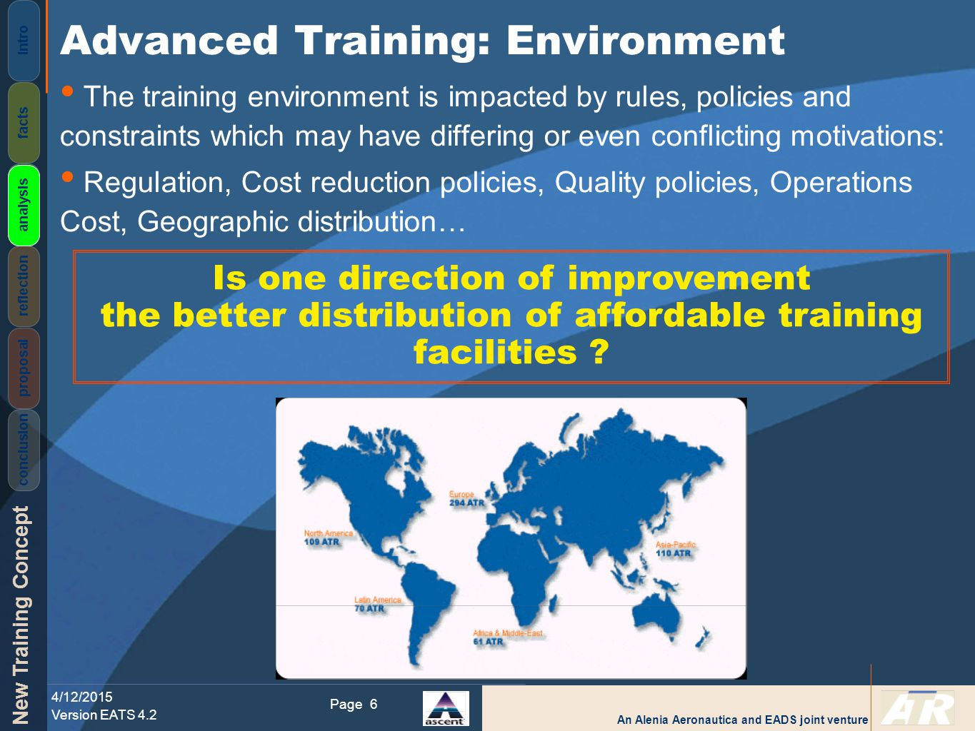 An Alenia Aeronautica and EADS joint venture New Training Concept 4/12/2015 Version EATS 4.2 Page Intro facts analysis reflection proposal conclusion 6 The training environment is impacted by rules, policies and constraints which may have differing or even conflicting motivations: Regulation, Cost reduction policies, Quality policies, Operations Cost, Geographic distribution… Advanced Training: Environment analysis Is one direction of improvement the better distribution of affordable training facilities