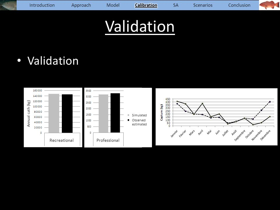 Validation Recreational Annual cath (kg) Professional Simulated Observed estimated