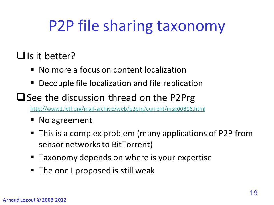 P2P file sharing taxonomy  Is it better.