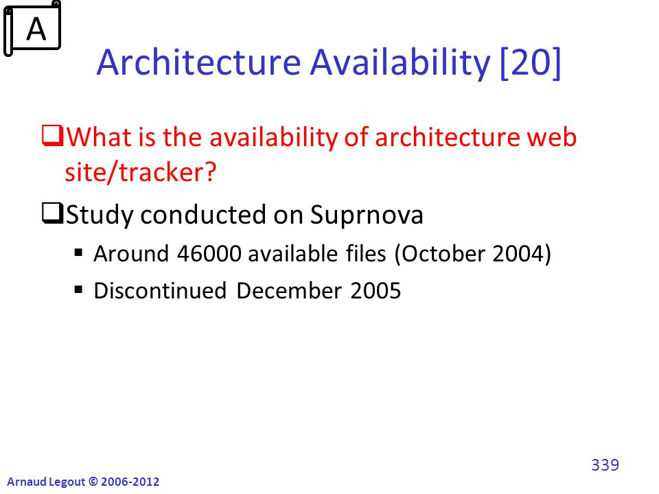 Architecture Availability [20]  What is the availability of architecture web site/tracker.