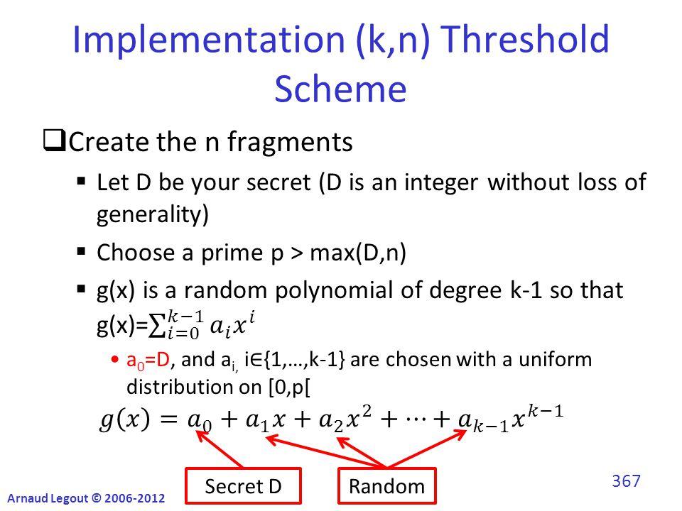 Implementation (k,n) Threshold Scheme Secret DRandom Arnaud Legout © 2006-2012 367