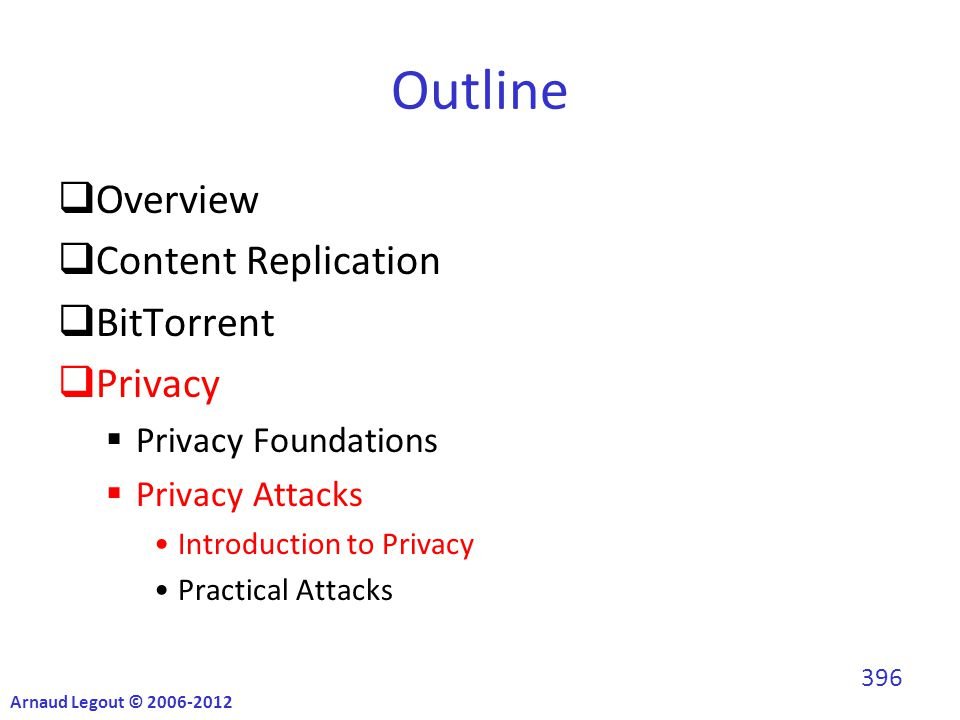 Outline  Overview  Content Replication  BitTorrent  Privacy  Privacy Foundations  Privacy Attacks Introduction to Privacy Practical Attacks Arnaud Legout © 2006-2012 396