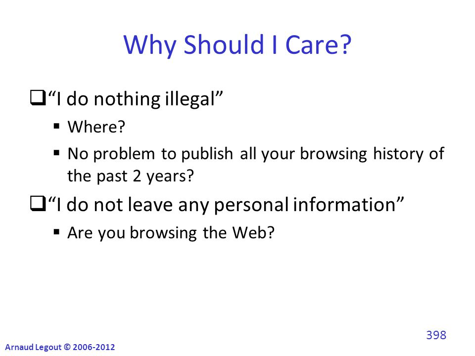 Why Should I Care.  I do nothing illegal  Where.