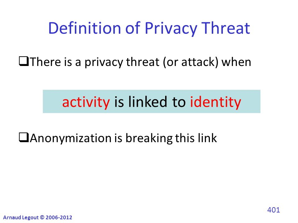 Definition of Privacy Threat  There is a privacy threat (or attack) when  Anonymization is breaking this link activity is linked to identity Arnaud Legout © 2006-2012 401