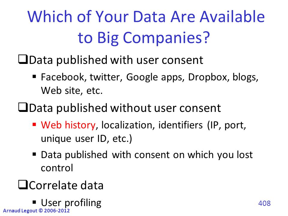 Which of Your Data Are Available to Big Companies.