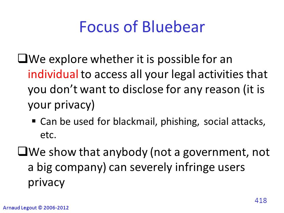  We explore whether it is possible for an individual to access all your legal activities that you don't want to disclose for any reason (it is your privacy)  Can be used for blackmail, phishing, social attacks, etc.