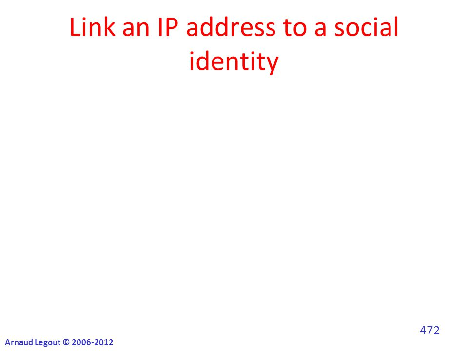 Link an IP address to a social identity Arnaud Legout © 2006-2012 472