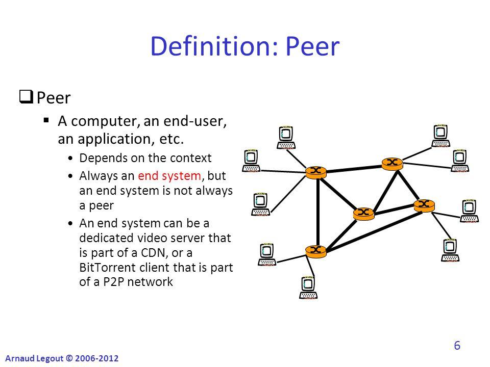 Definition: Peer  Peer  A computer, an end-user, an application, etc.