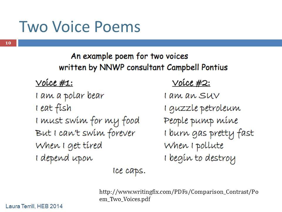 Two Voice Poems http://www.writingfix.com/PDFs/Comparison_Contrast/Po em_Two_Voices.pdf Laura Terrill, HEB 2014 10