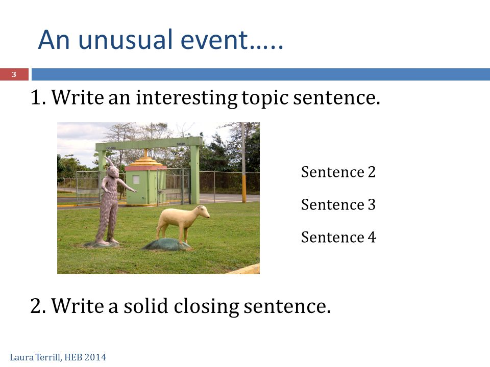 An unusual event….. Laura Terrill, HEB 2014 1. Write an interesting topic sentence. 2. Write a solid closing sentence. Sentence 2 Sentence 3 Sentence