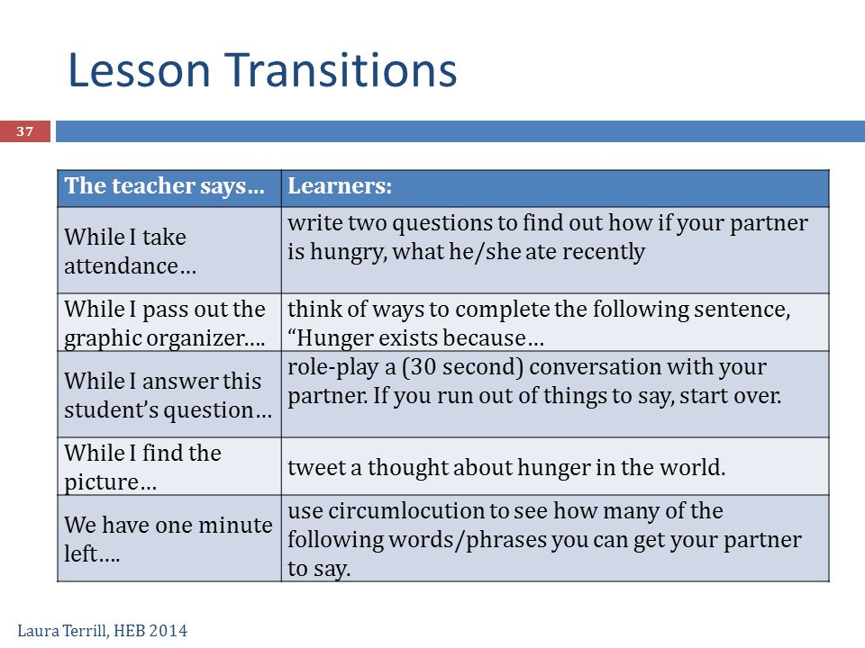 Lesson Transitions Laura Terrill, HEB 2014 37 The teacher says…Learners: While I take attendance… write two questions to find out how if your partner