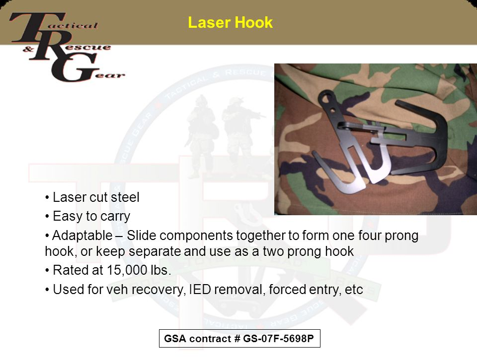 Laser Hook Laser cut steel Easy to carry Adaptable – Slide components together to form one four prong hook, or keep separate and use as a two prong ho