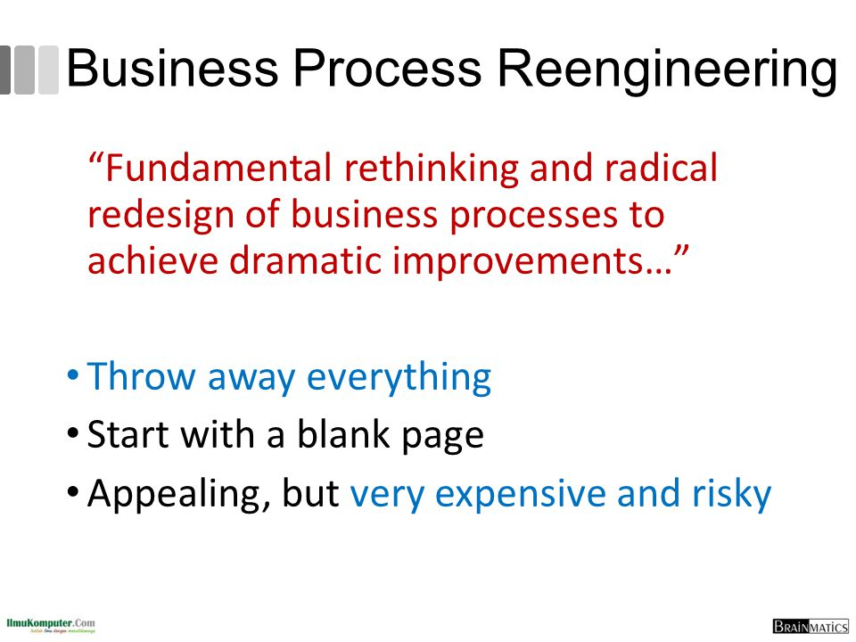 Business Process Reengineering Fundamental rethinking and radical redesign of business processes to achieve dramatic improvements… Throw away everything Start with a blank page Appealing, but very expensive and risky