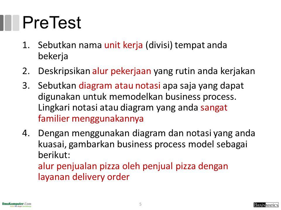 PreTest 1.Sebutkan nama unit kerja (divisi) tempat anda bekerja 2.Deskripsikan alur pekerjaan yang rutin anda kerjakan 3.Sebutkan diagram atau notasi apa saja yang dapat digunakan untuk memodelkan business process.